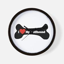 I Love My Wolfhound - Dog Bone Wall Clock