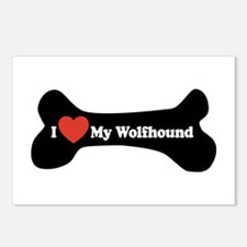 I Love My Wolfhound - Dog Bone Postcards (Package