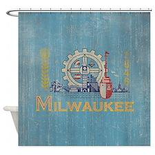 Vintage Milwaukee Flag Shower Curtain