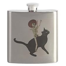 Skeleton on Cat Flask