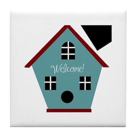 Welcome Birdhouse Tile Coaster