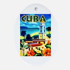 Cuba Travel Poster 6 Ornament (Oval)