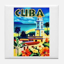 Cuba Travel Poster 6 Tile Coaster