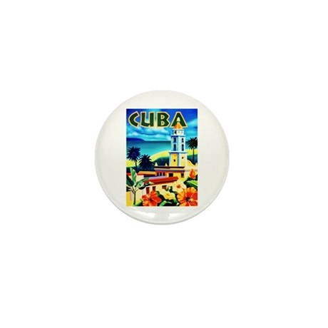 Cuba Travel Poster 6 Mini Button (10 pack)