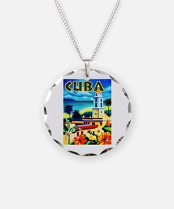 Cuba Travel Poster 6 Necklace
