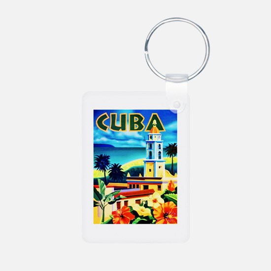 Cuba Travel Poster 6 Keychains