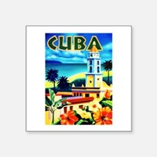 "Cuba Travel Poster 6 Square Sticker 3"" x 3"""