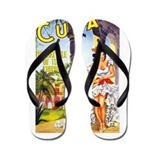 Cuba Travel Poster 1 Flip Flops