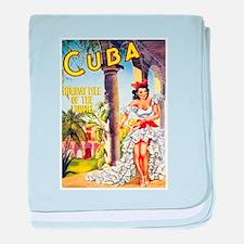 Cuba Travel Poster 1 baby blanket