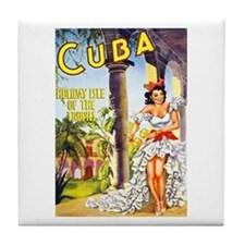 Cuba Travel Poster 1 Tile Coaster