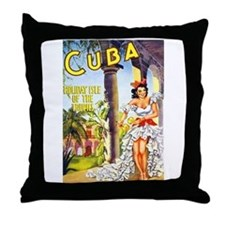 Cuba Travel Poster 1 Throw Pillow