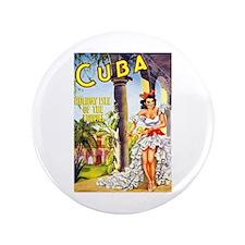 "Cuba Travel Poster 1 3.5"" Button"