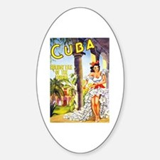 Cuba Travel Poster 1 Sticker (Oval)