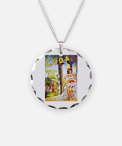 Cuba Travel Poster 1 Necklace
