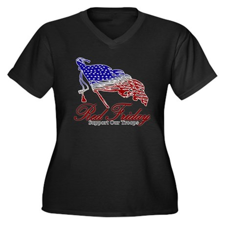 Red Friday Support Women's Plus Size V-Neck Dark T