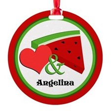 Love and Watermelon - Personalized Round Ornament
