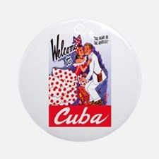 Cuba Travel Poster 5 Ornament (Round)