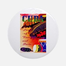 Cuba Travel Poster 3 Ornament (Round)