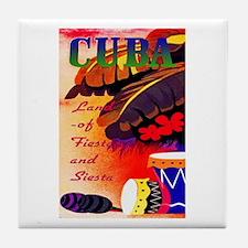 Cuba Travel Poster 3 Tile Coaster