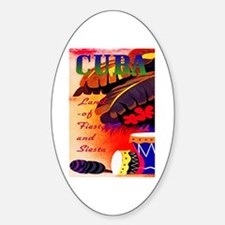 Cuba Travel Poster 3 Sticker (Oval)