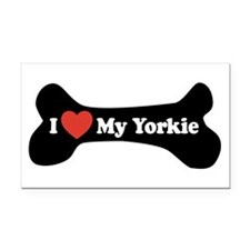 I Love My Yorkie - Dog Bone Rectangle Car Magnet