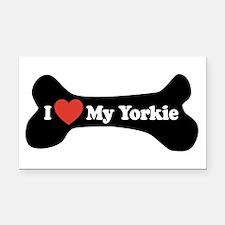 I Love My Yorkie - Dog Bone Rectangle Car Magnet