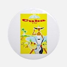 Cuba Travel Poster 4 Ornament (Round)