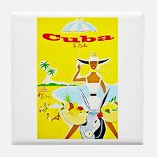Cuba Travel Poster 4 Tile Coaster