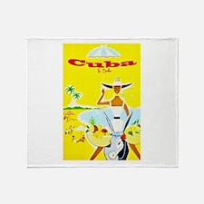 Cuba Travel Poster 4 Throw Blanket
