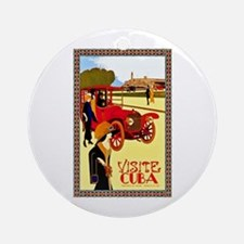 Cuba Travel Poster 10 Ornament (Round)