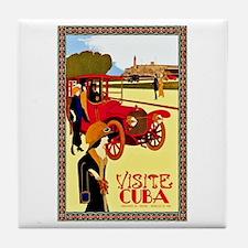 Cuba Travel Poster 10 Tile Coaster