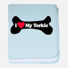I Love My Yorkie - Dog Bone baby blanket