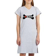I Love My Yorkie - Dog Bone Women's Nightshirt