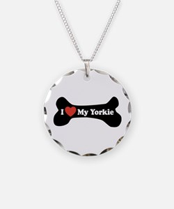 I Love My Yorkie - Dog Bone Necklace