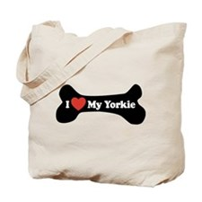 I Love My Yorkie - Dog Bone Tote Bag