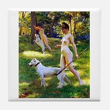 Nude Stewart Nymphs Hunting Tile Coaster