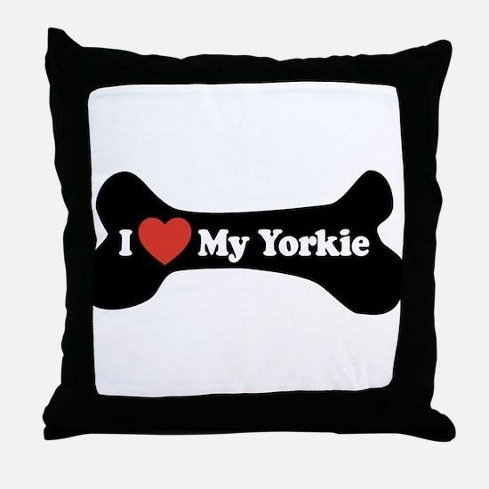 I Love My Yorkie - Dog Bone Throw Pillow