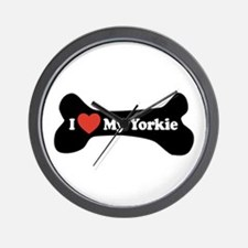 I Love My Yorkie - Dog Bone Wall Clock
