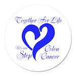 Stop Colon Cancer Round Car Magnet