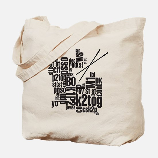 Knitting Abbreviation Cloud Tote Bag