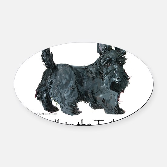 Scottish Terrier Attitude Oval Car Magnet