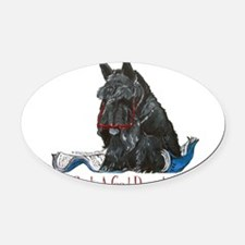 Scottish Terrier Book Oval Car Magnet