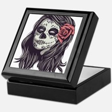Sugar Skull Day of Dead Girl Red Rose Keepsake Box