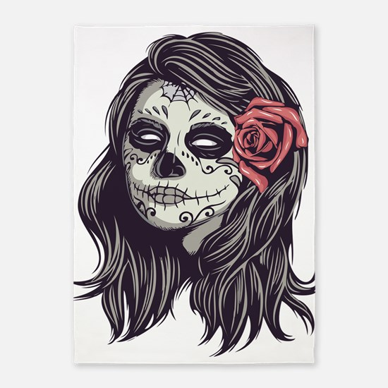 Sugar Skull Day Of Dead Girl Red 5'x7'area