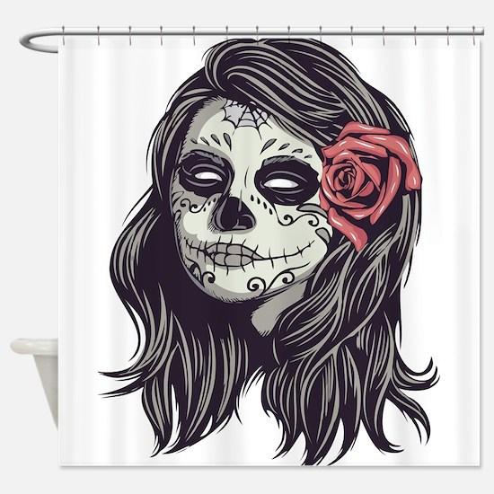 Sugar Skull Day of Dead Girl Red Rose Shower Curta