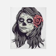 Sugar Skull Day Of Dead Girl Red Throw Blanket
