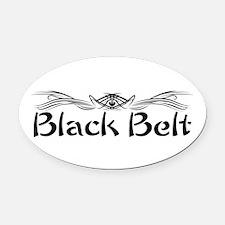 Martial Arts Black Belt Oval Car Magnet