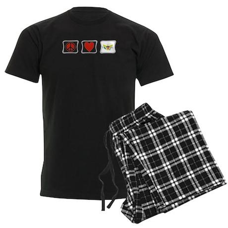 Peace Love Virgin Islands Men's Dark Pajamas