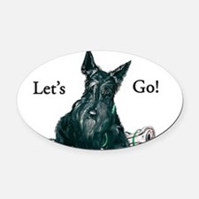 Scottie lets go with paper 8x8.png Oval Car Magnet