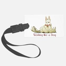 dog working mug red letters.png Luggage Tag